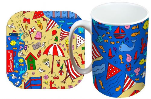 Selina-Jayne British Seaside Limited Edition Designer Mug and Coaster Gift Set